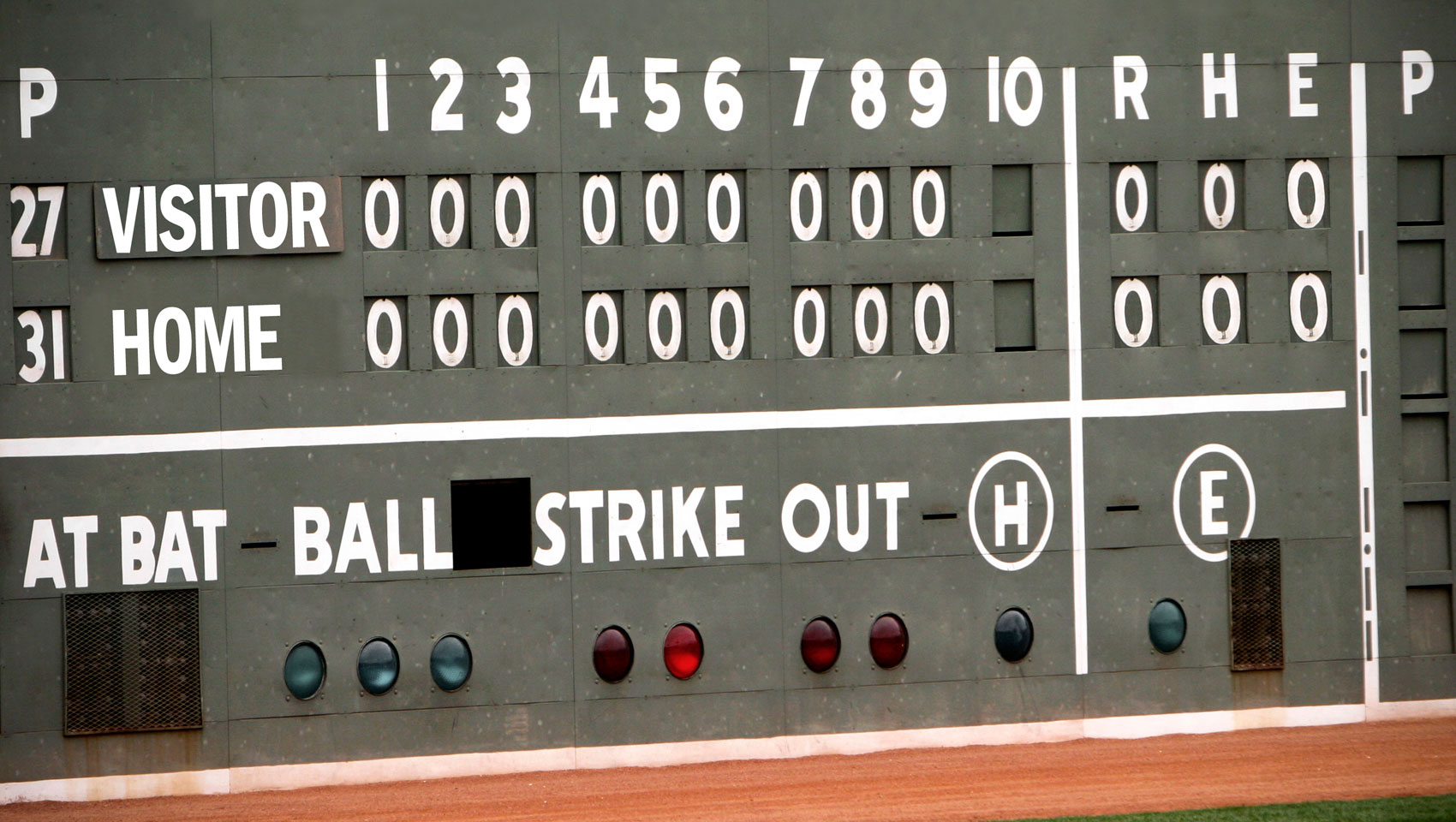 Black and white mlb outfield scoreboard displaying visitors vs home and 10 hittings with zeros across the board